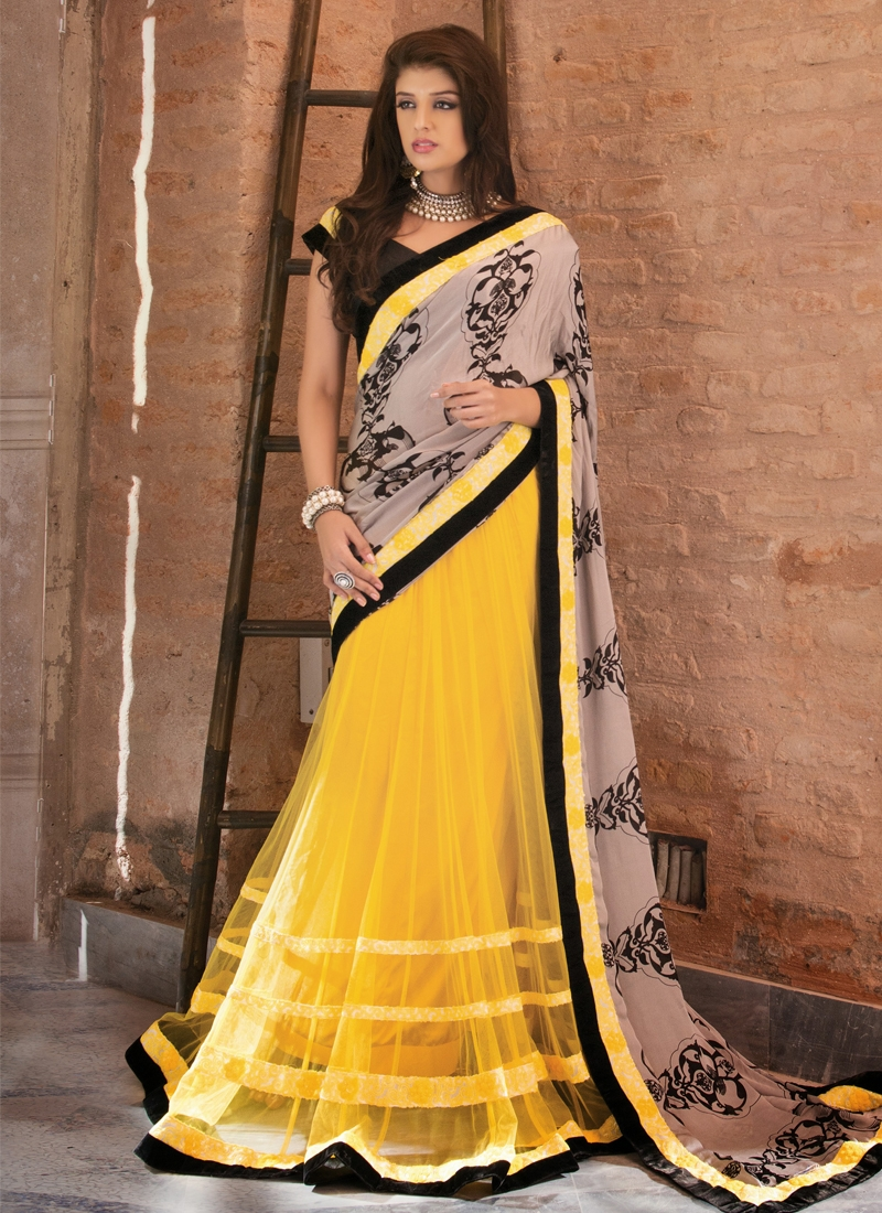 Georgette And Net Block Printed Lehenga Saree