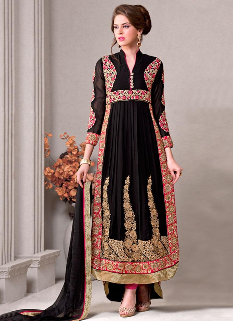 Gilded Booti Work Black Color Long Length Designer Salwar Suit