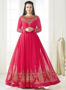 Gilded Booti Work Dia Mirza Long Length Anarkali Salwar Suit