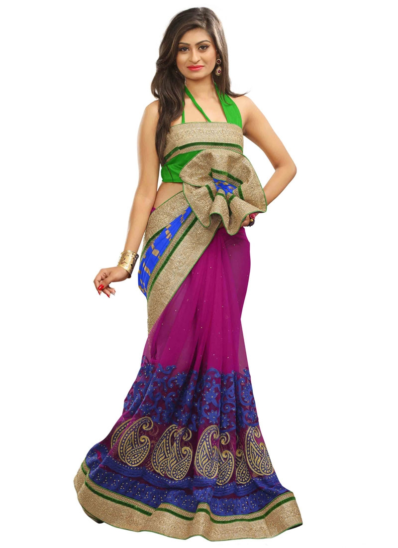 Gilded Booti Work Net Half N Half Wedding Saree