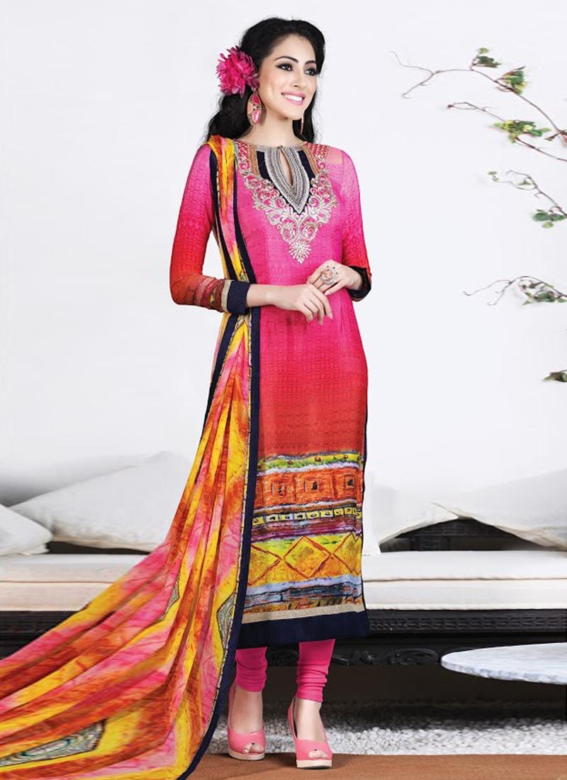Gilded Crepe Silk Churidar Salwar Suit