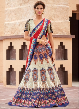 Gilded Print Work Silk Designer A Line Lehenga Choli