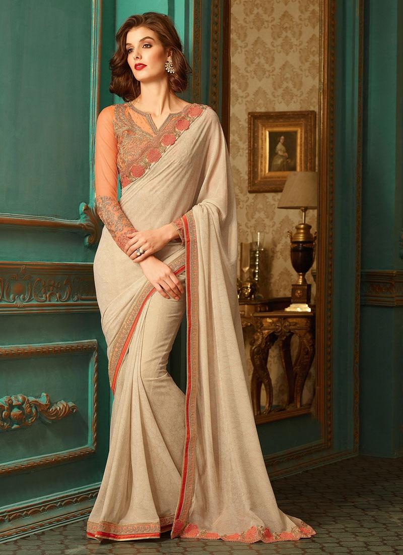 Gilded Resham Work Beige Color Party Wear Saree