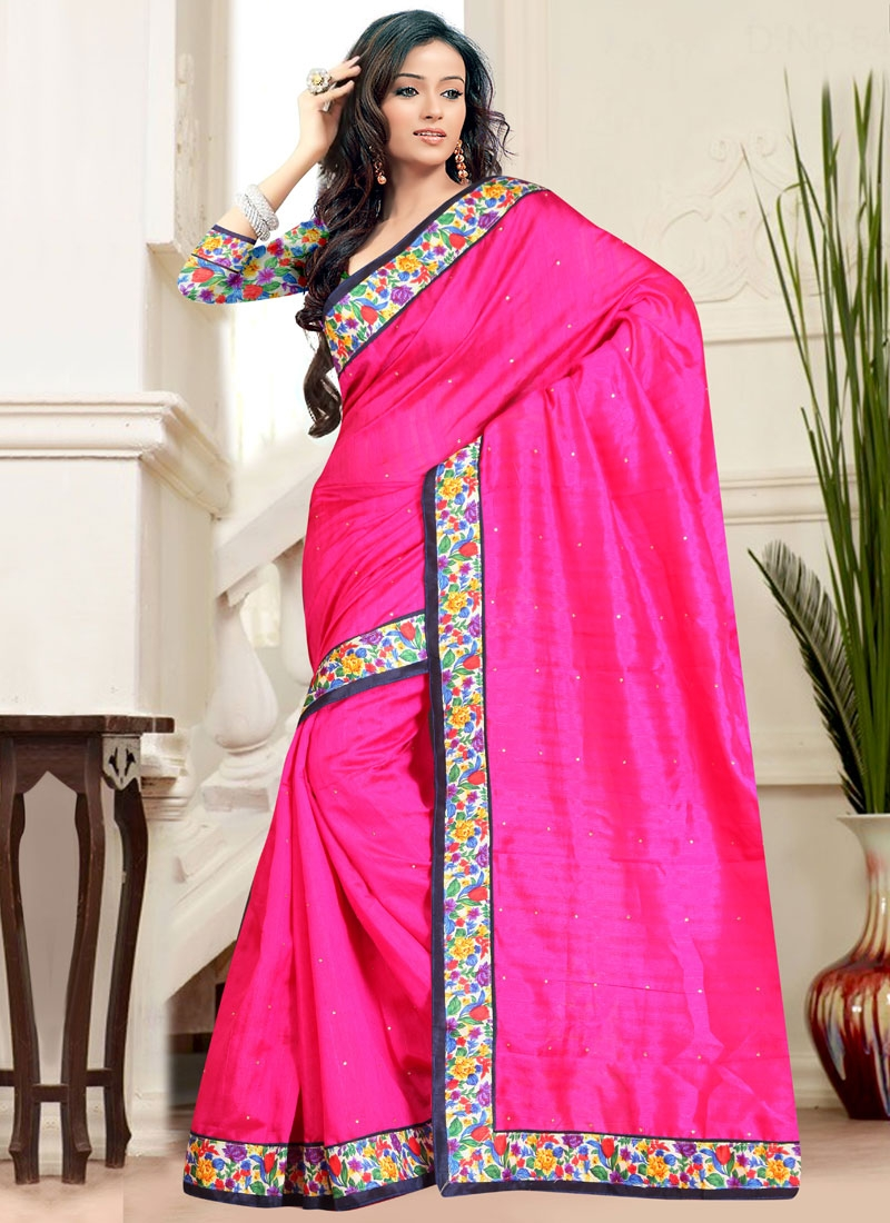 Gilded Rose Pink Color Bhagalpuri Silk Casual Saree