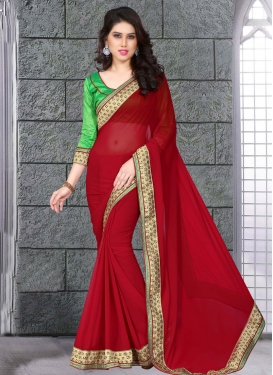 Gilded Stone Work Crimson Color Party Wear Saree