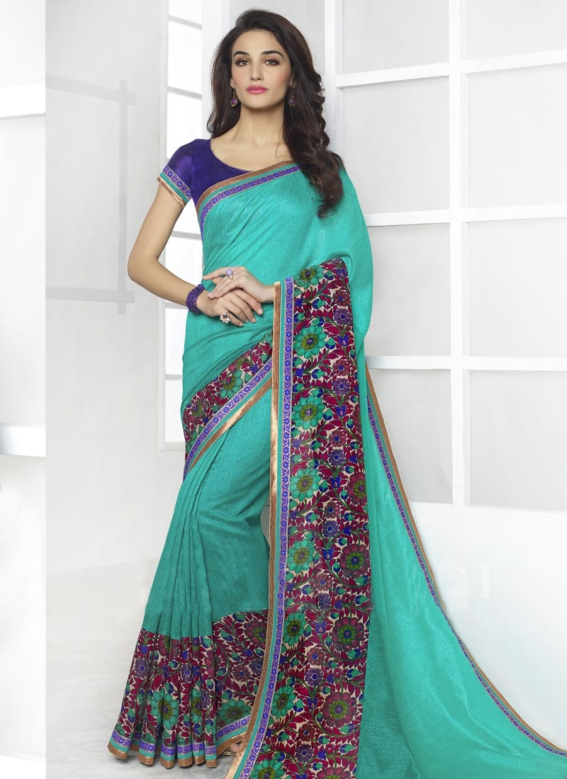 Girlish Aqua Blue Color Digital Print Casual Saree