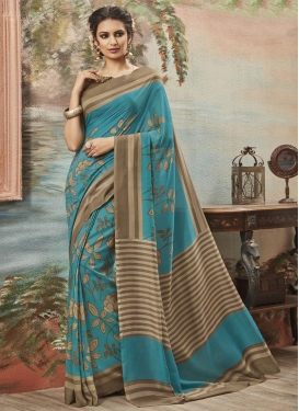Girlish Art Silk Brown and Light Blue Trendy Saree