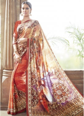 Girlish Art Silk Digital Print Work Party Wear Saree
