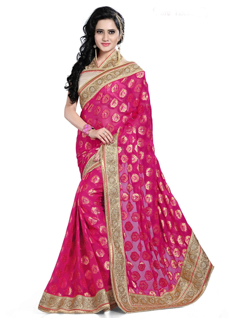Girlish Beads And Resham Work Georgette Wedding Saree