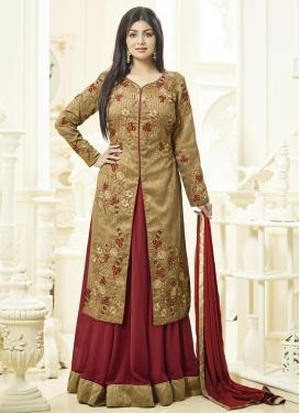 Girlish Beige and Crimson Ayesha Takia Banglori Silk Kameez Style Lehenga