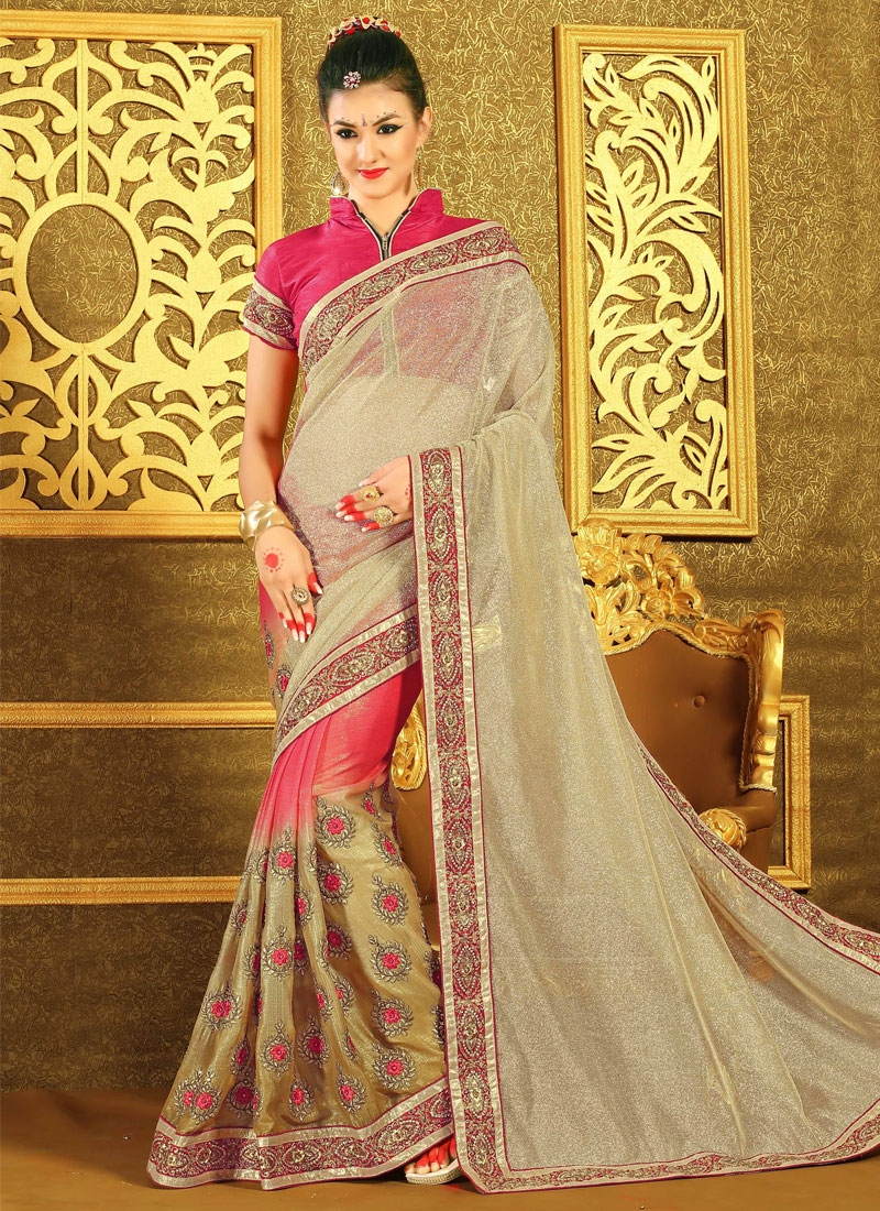 Girlish Beige And Rose Pink Color Designer Saree
