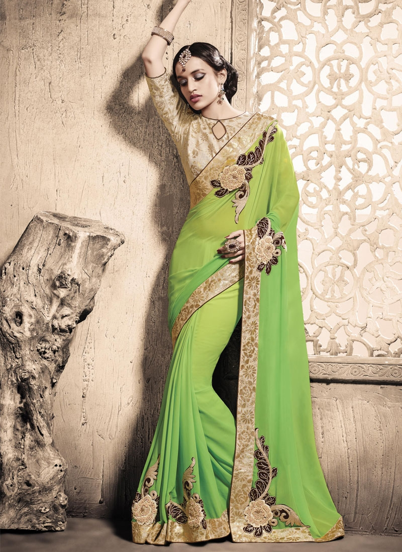 Girlish Booti Work Faux Georgette Party Wear Saree