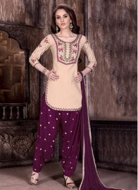 Girlish Cotton  Beige and Magenta Embroidered Work Designer Patiala Salwar Suit