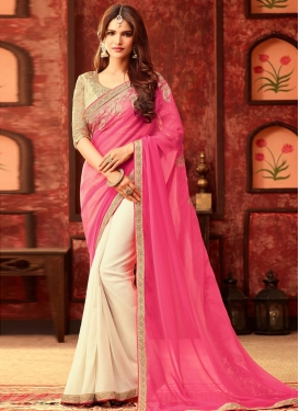 Girlish Embroidered Work Half N Half Saree For Ceremonial