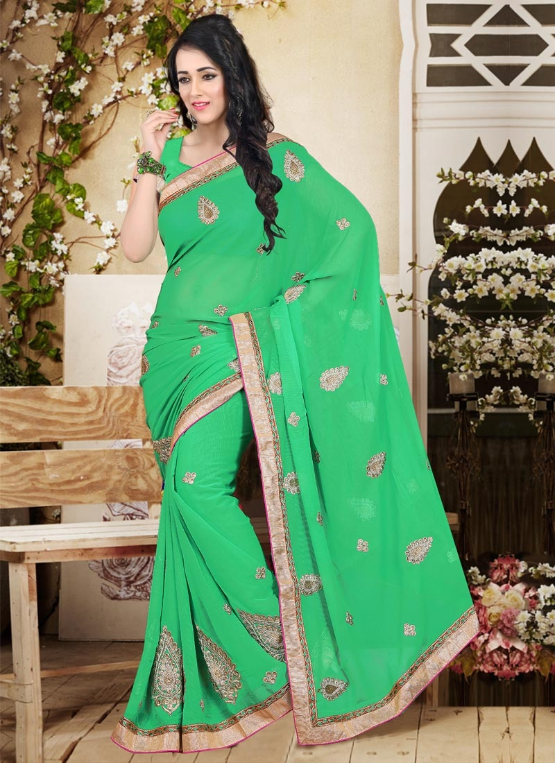 Girlish Faux Chiffon Booti Work Party Wear Saree