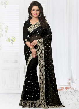 Girlish Faux Georgette Lace Work Classic Saree