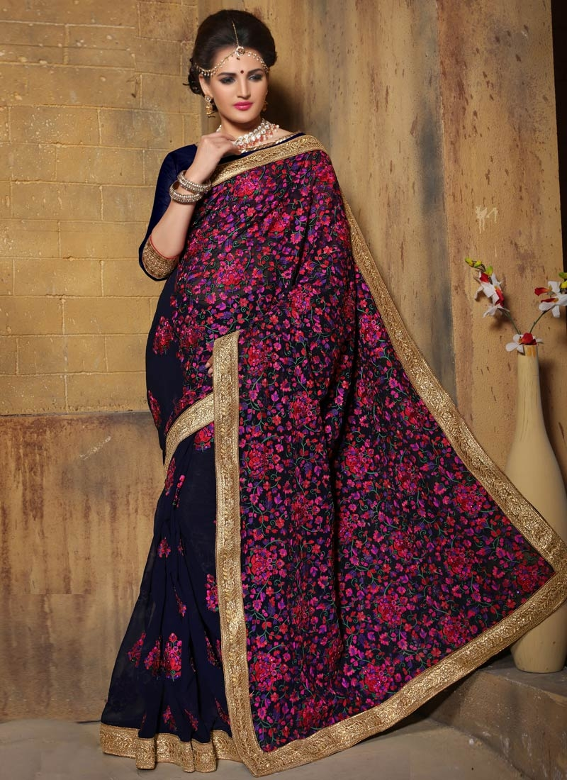 Girlish Floral And Booti Work Designer Saree