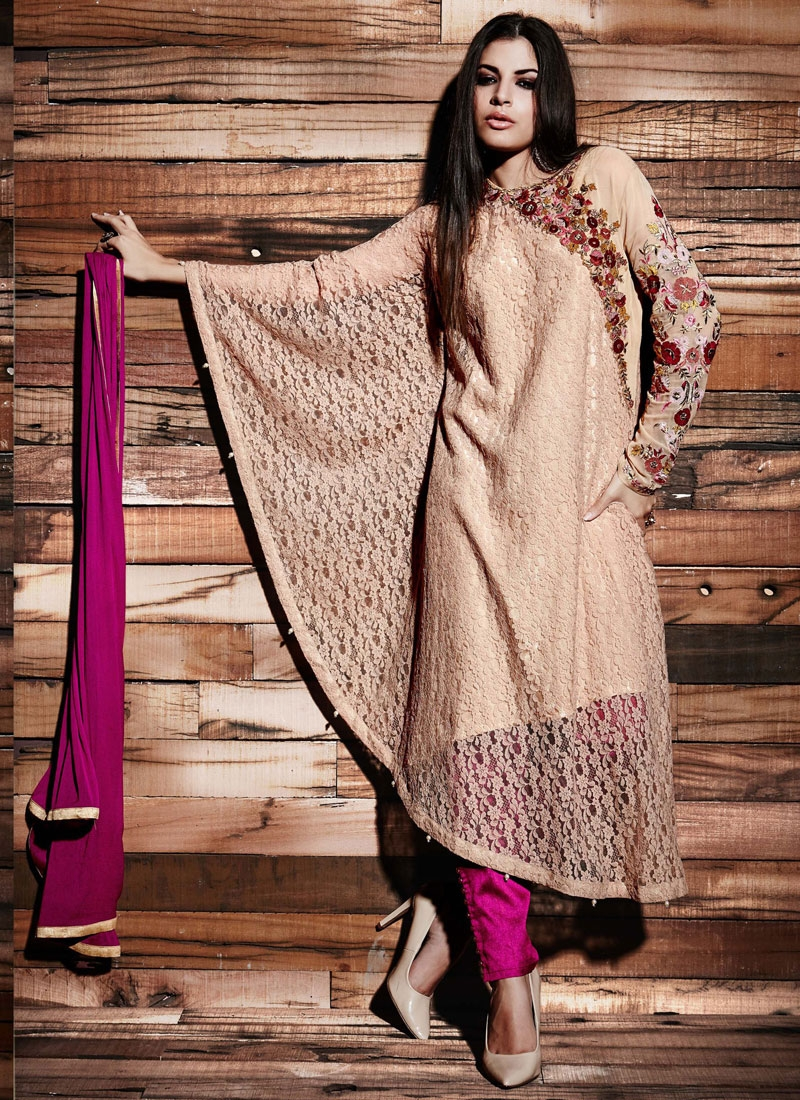 Girlish Floral Work Pant Style Designer Salwar Kameez
