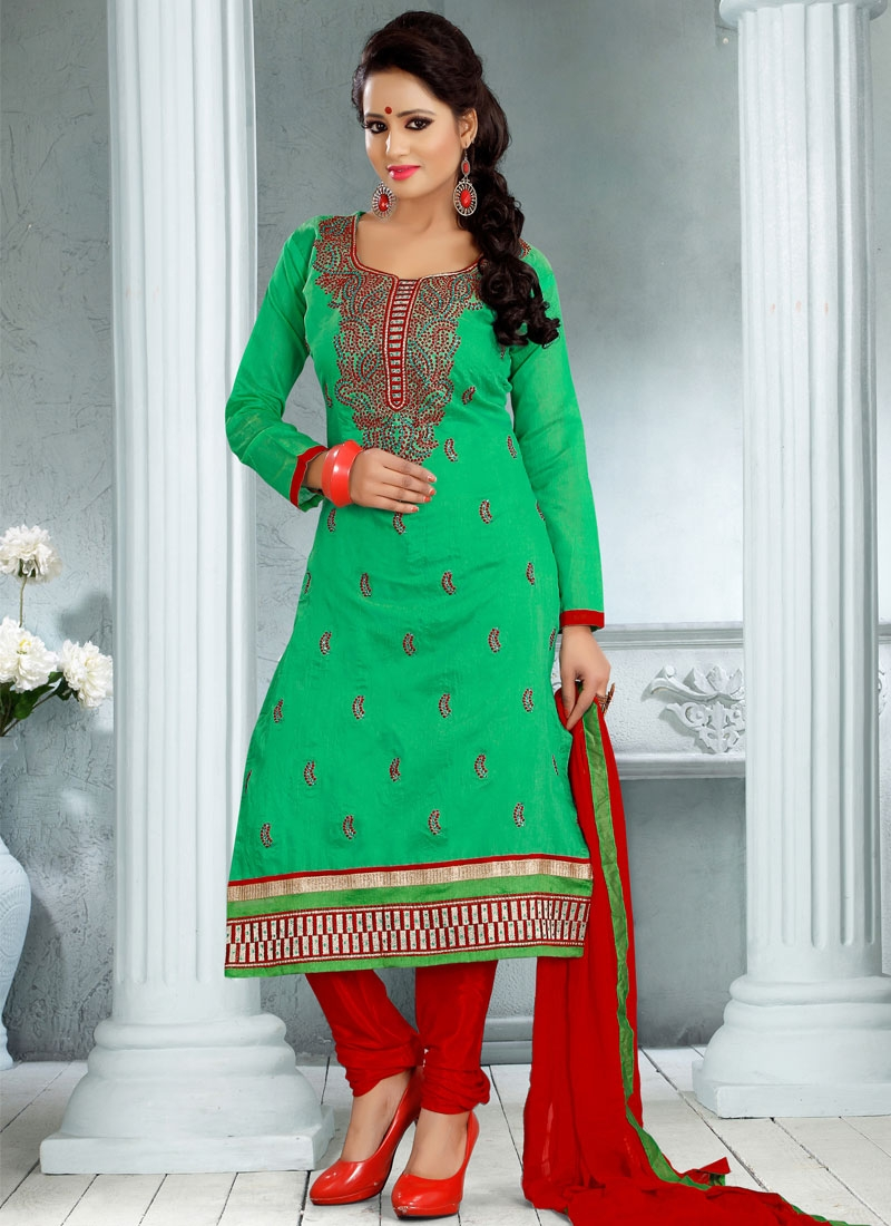 Girlish Green Color Karachi Work Churidar Salwar Kameez