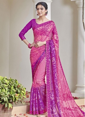 Girlish Hot Pink and Magenta Brasso Georgette Contemporary Saree