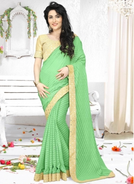 Girlish Lace Work Contemporary Style Saree