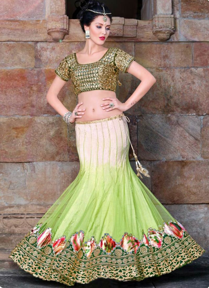 Girlish Mirror Work Mint Green Color Designer Lehenga Choli