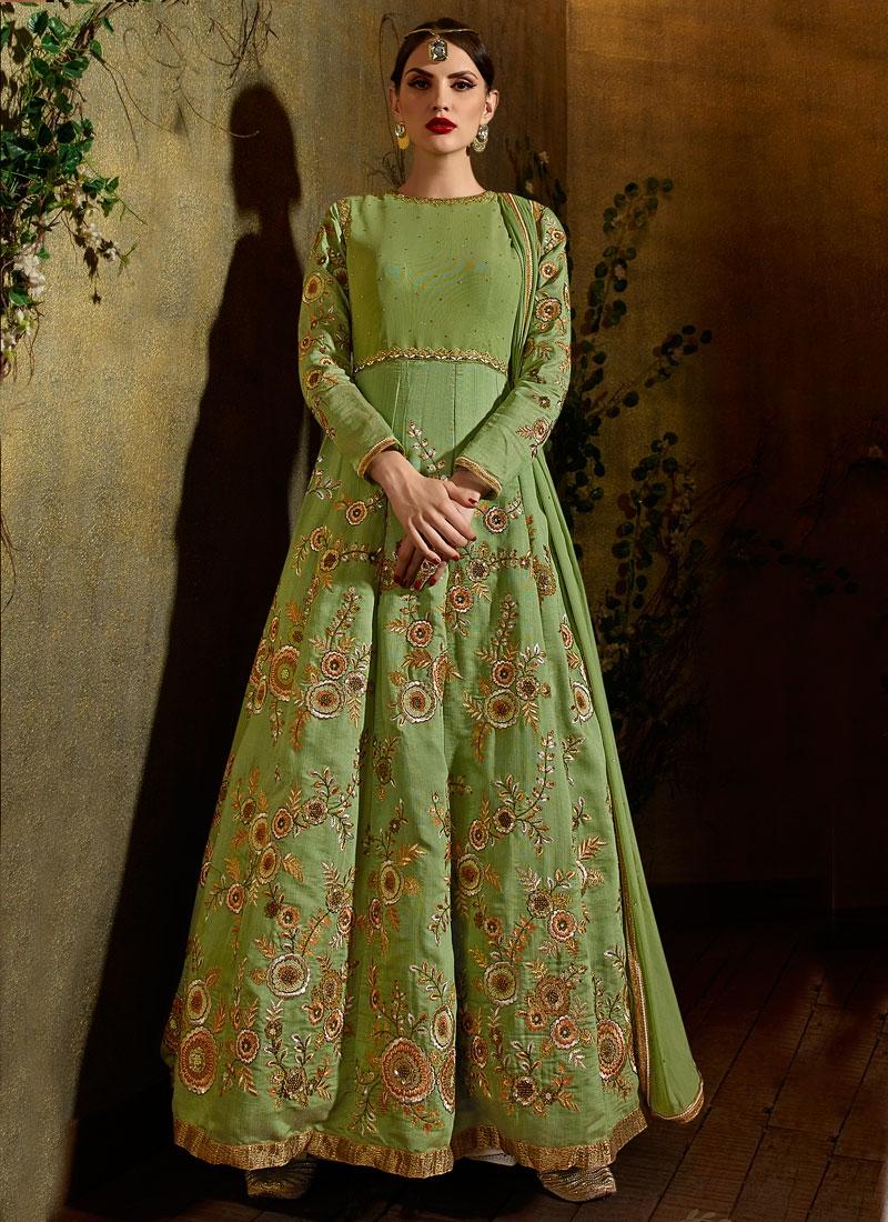Girlish Raw Silk Ankle Length Designer Salwar Suit