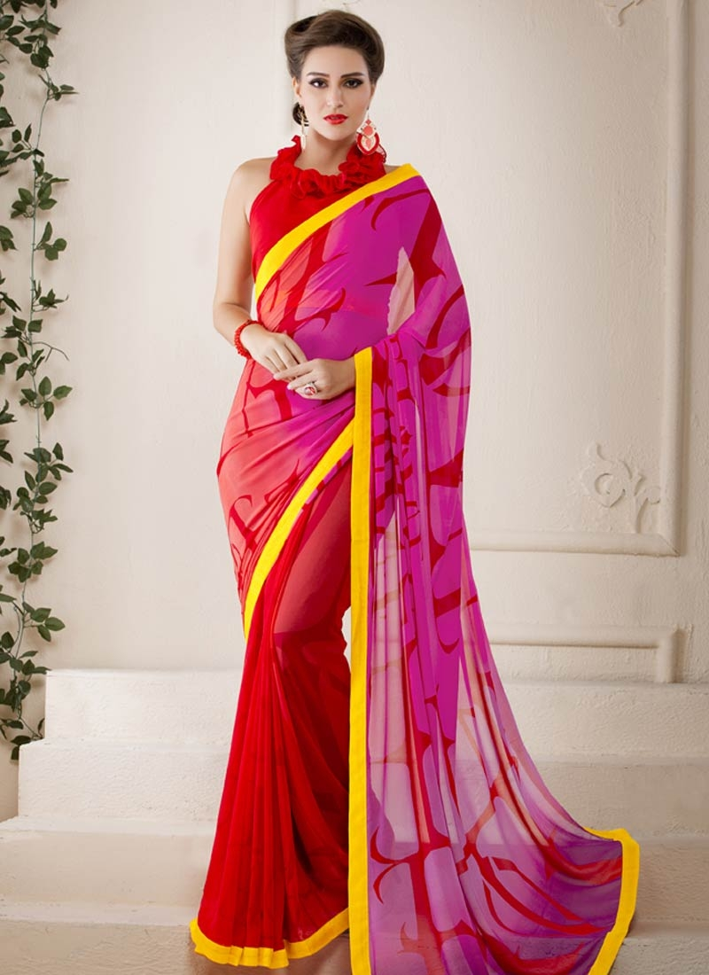 Girlish Red And Rose Pink Color Casual Saree