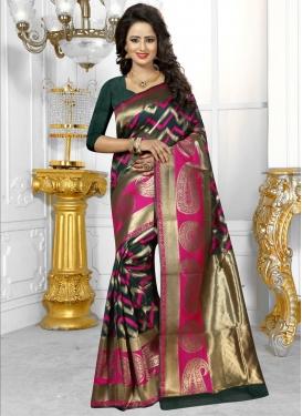 Girlish Thread Work Banarasi Silk Contemporary Saree