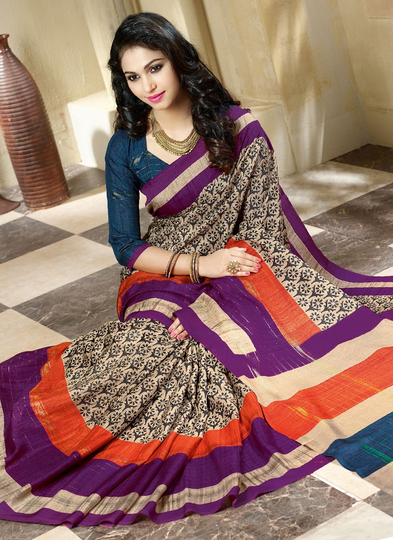 Glamorous Beige Color Art Silk Casual Saree