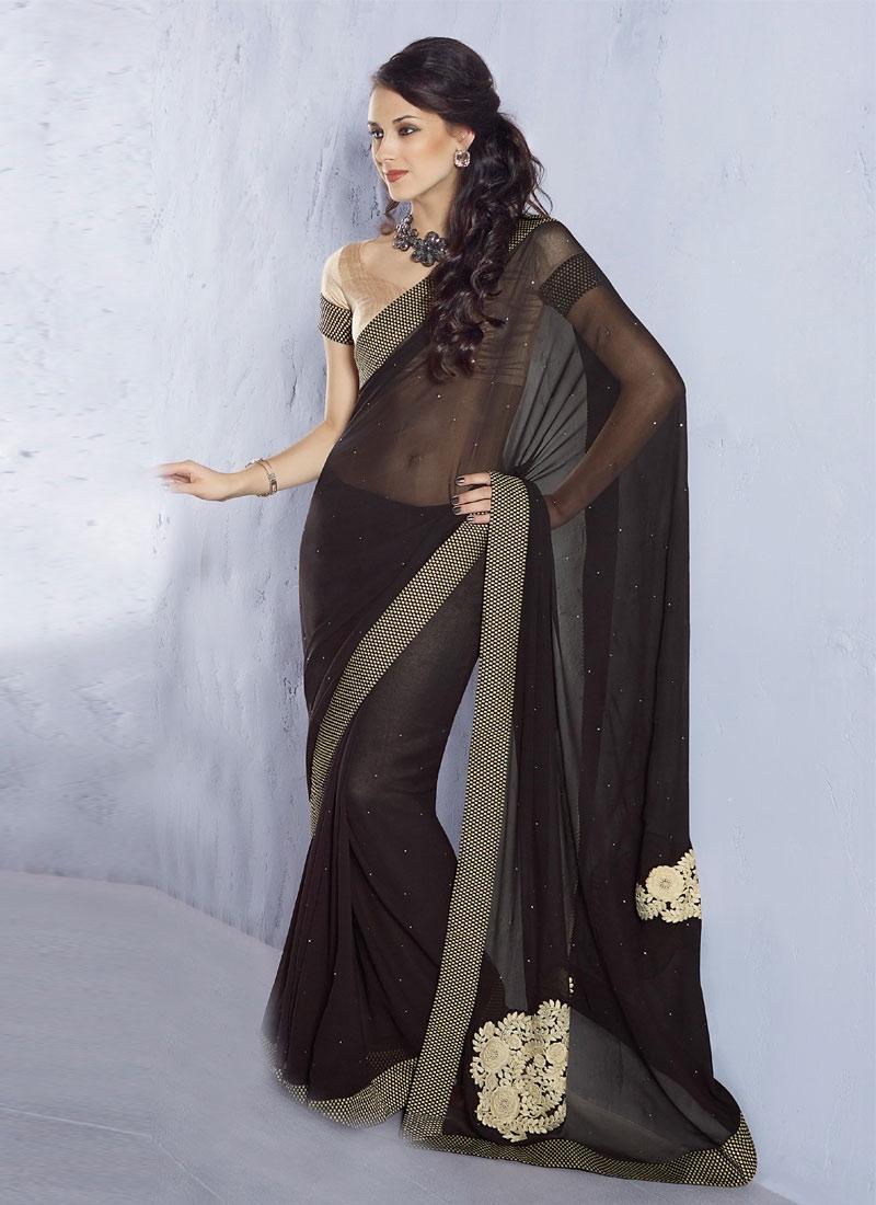 Glamorous Black Georgette Casual Saree