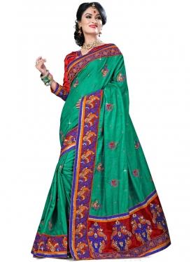 Glamorous Booti Work Manipuri Silk Designer Saree
