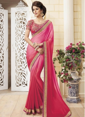 Glamorous Chiffon Satin Lace Work Classic Saree For Ceremonial