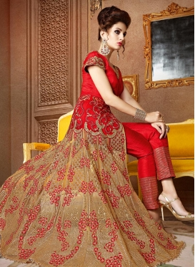 Glamorous Embroidered Work Banarasi Silk Designer Pant Style Suit