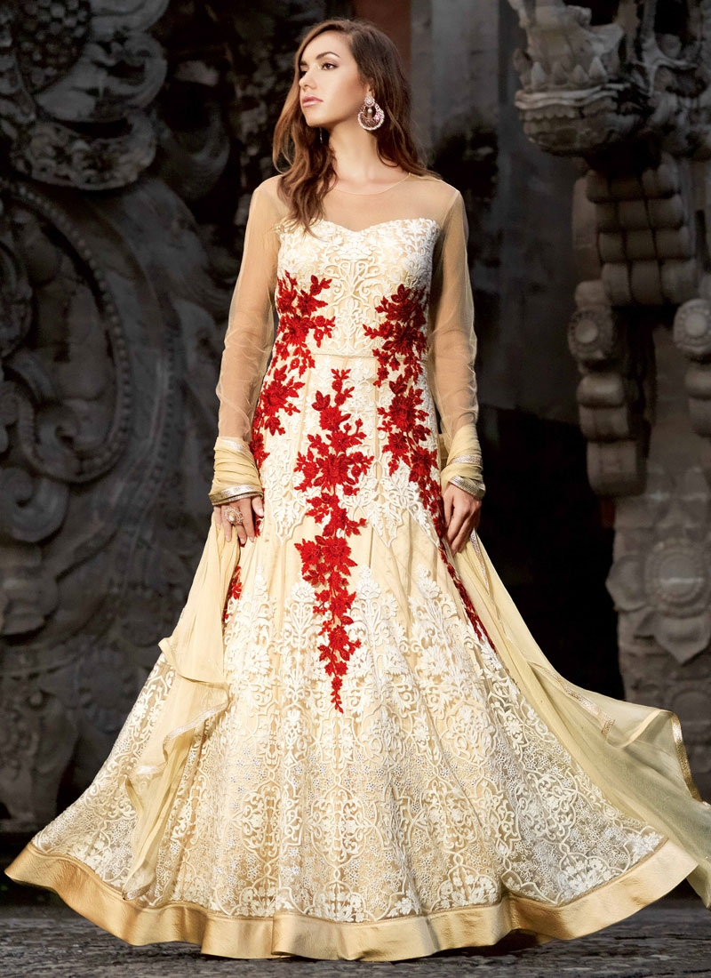Glamorous Embroidery Work Floor Length Wedding Salwar Kameez