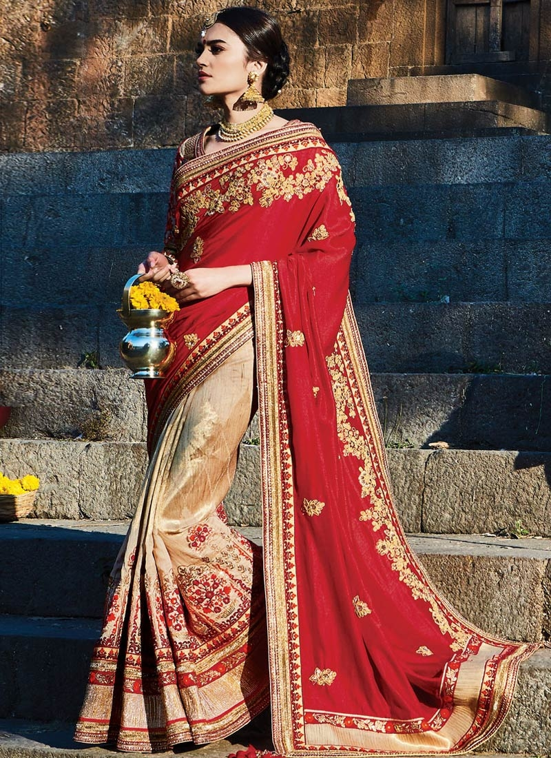 Glamorous Embroidery Work Satin Half N Half Bridal Saree