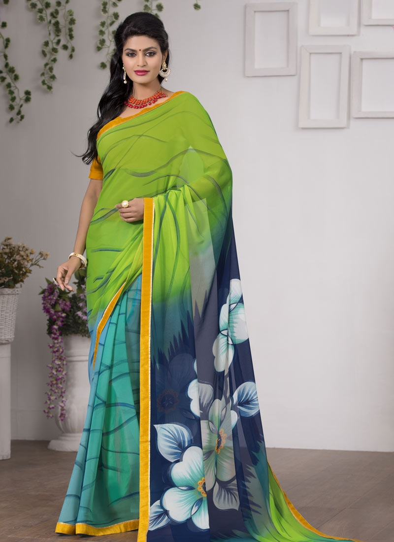 Glamorous Faux Georgette Digital Print Work Casual Saree