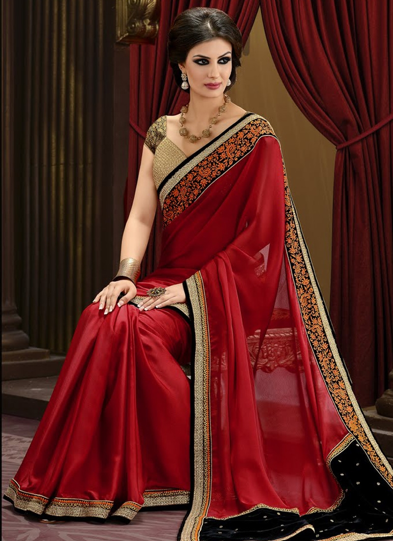 Glamorous Faux Georgette Party Wear Saree