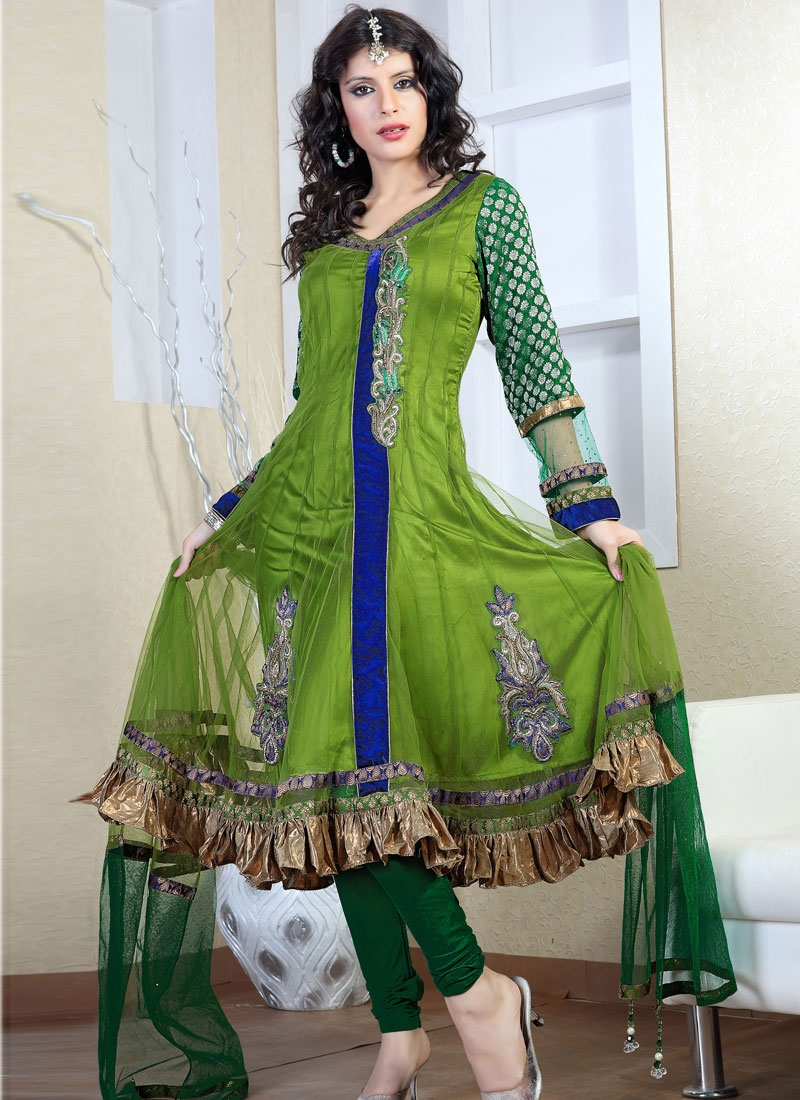 Glamorous Green And Blue Readymade Salwar Suit
