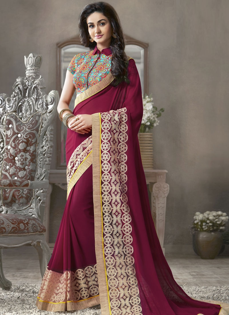 Glamorous Lace Work Georgette Party Wear Saree