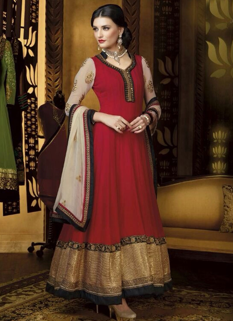 Glamorous Patch And Lace Work Long Length Anarkali Suit
