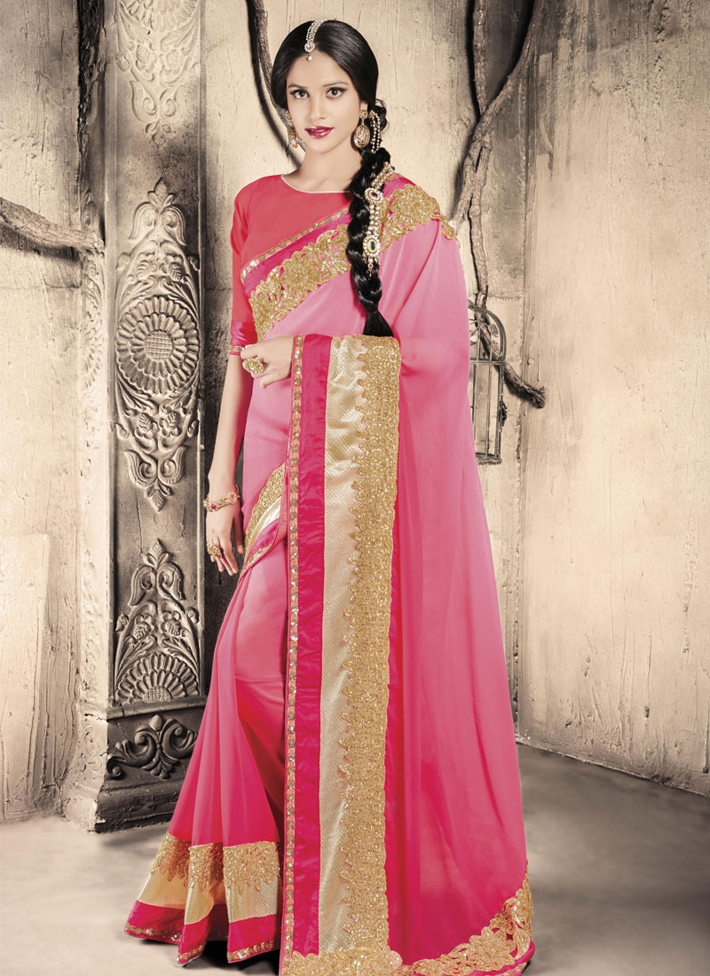 Glamorous Patch Border And Stone Work Designer Saree