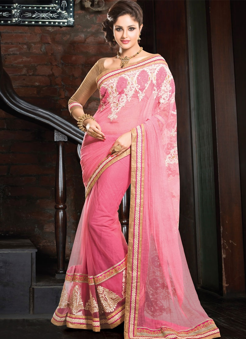 Glamorous Pink Color Patch And Lace Work Party Wear Saree