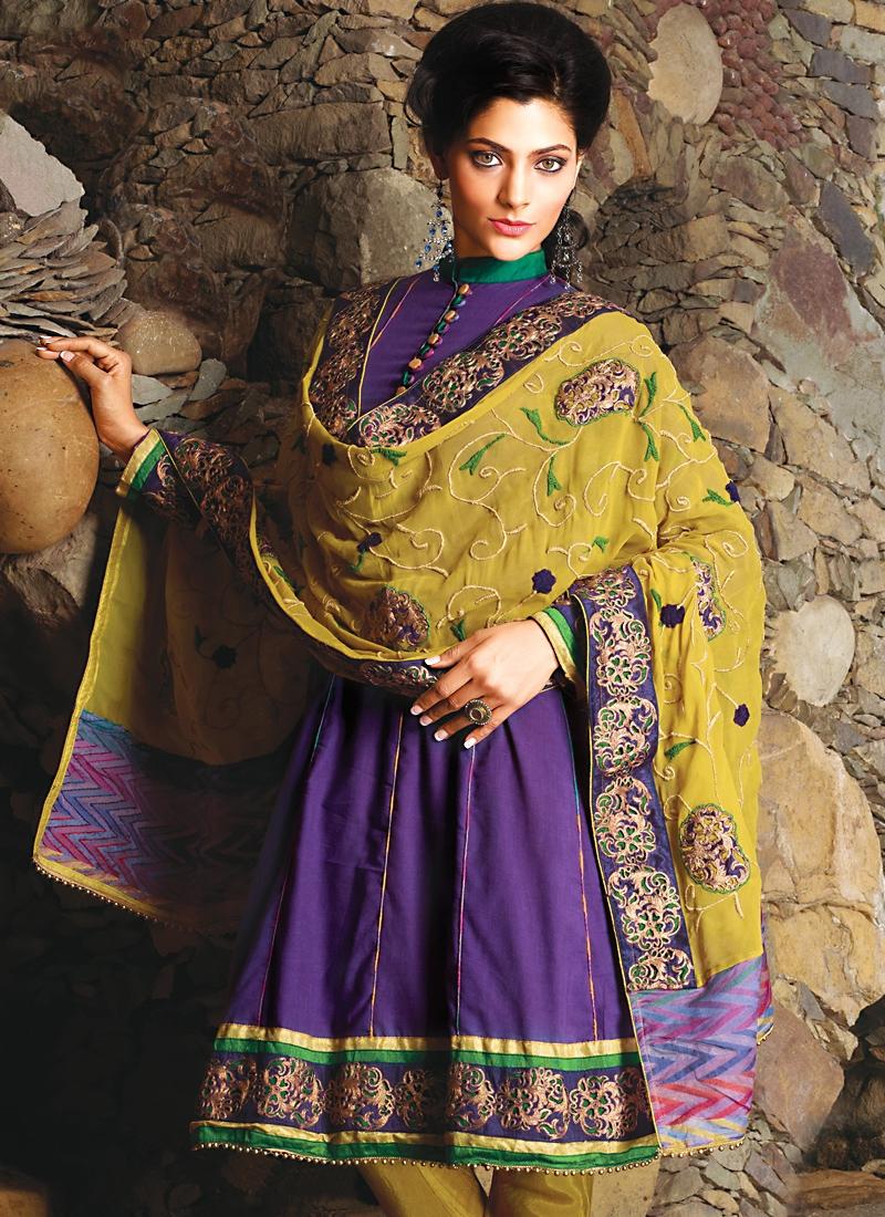 Glamorous Purple And Mustard Salwar Kameez