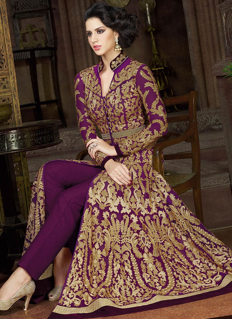 Glamorous Purple Color Lace Work Pant Style Wedding Salwar Suit