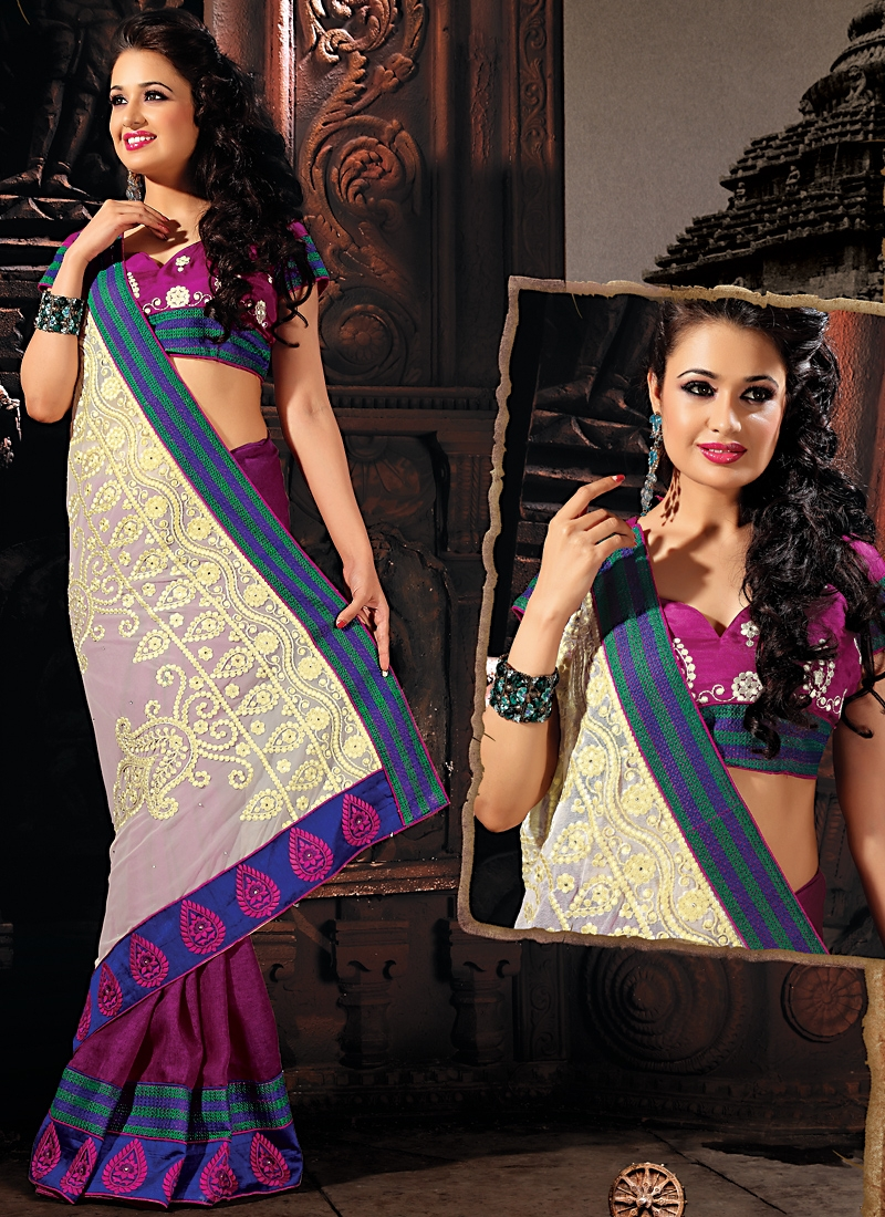 Glamorous Purple Color Party Wear Saree