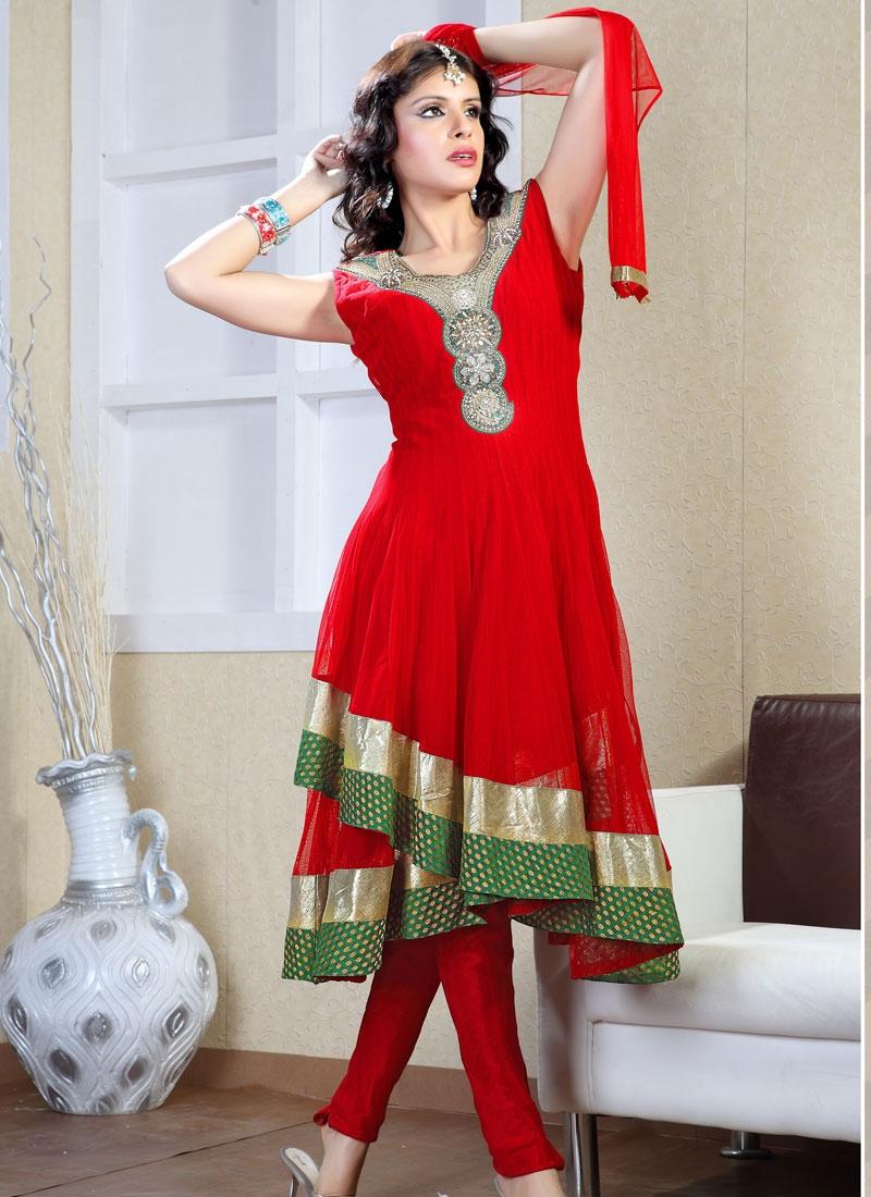 Glamorous Red Net Readymade Salwar Kameez