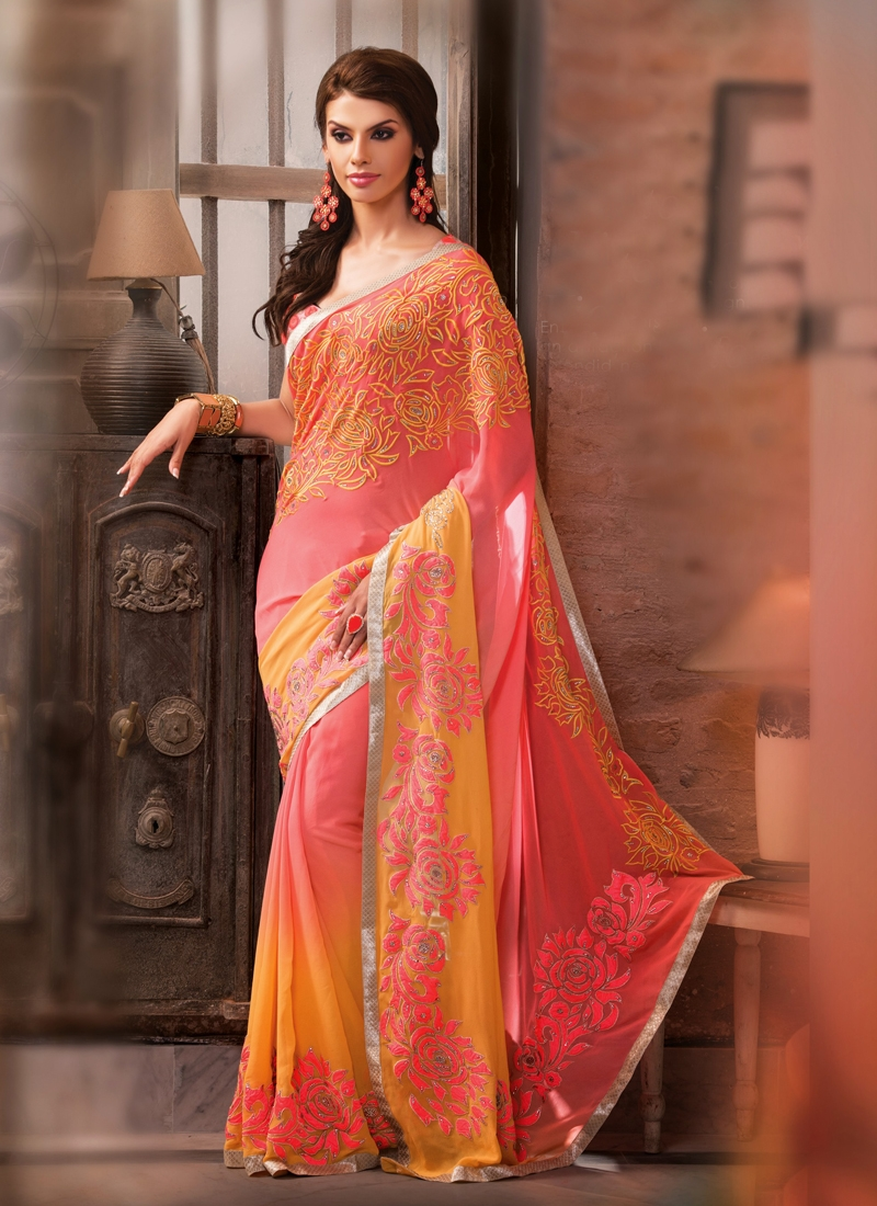 Glamorous Resham Work Georgette Wedding Saree
