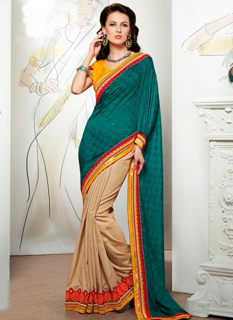 Glamorous Teal Color Viscose Half N Half Party Wear Saree