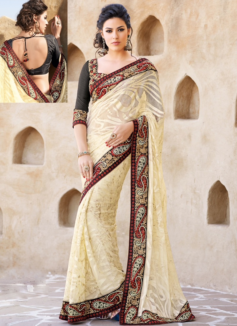 Gleaming Beads Enhanced Party Wear Saree